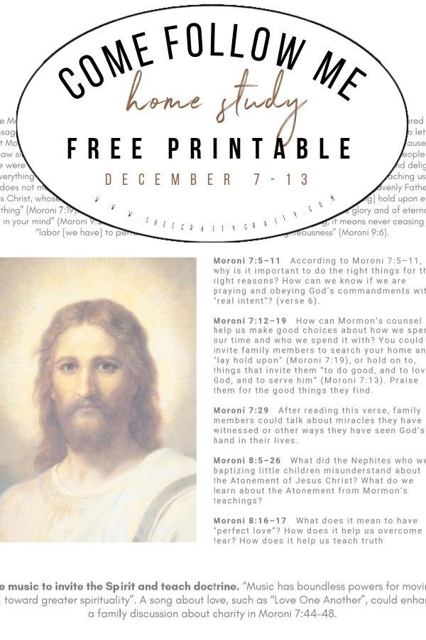 Come Follow Me printable Dec 7-13