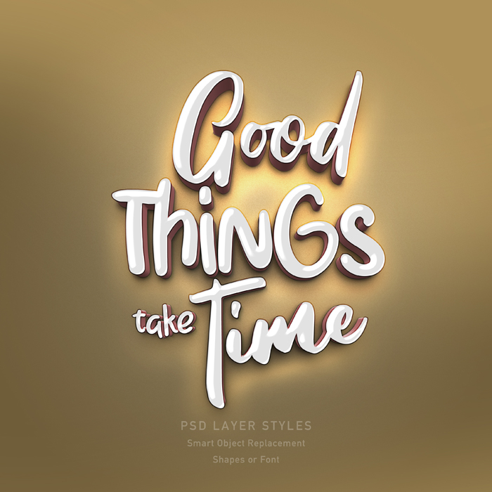 Good Things Take Time 3D Text Style PSD Mockup