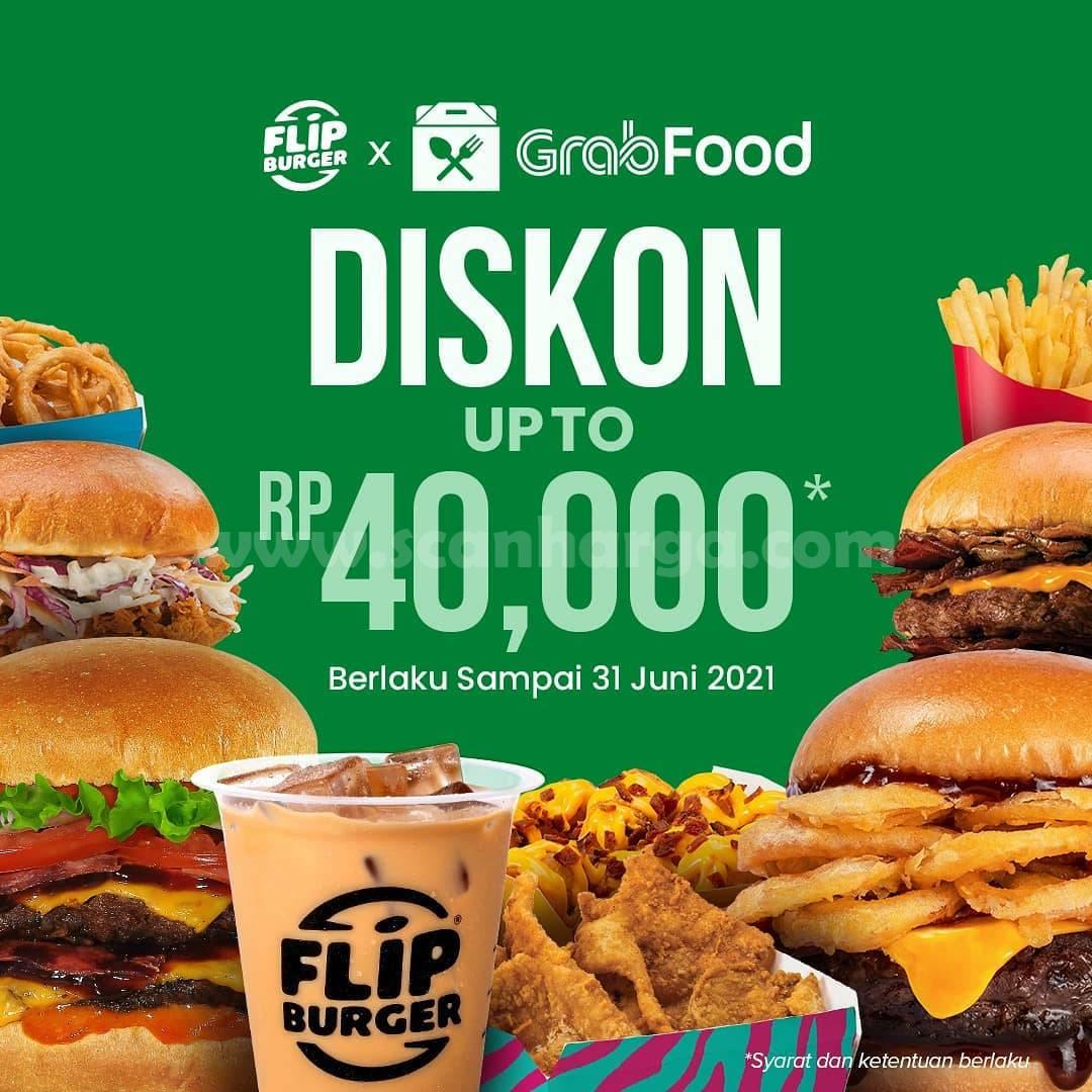 Promo Flip Burger Diskon Rp 40.000 khusus Pesan antar via Grabfood
