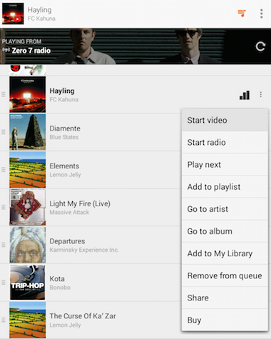 YouTube Videos in Google Play Music
