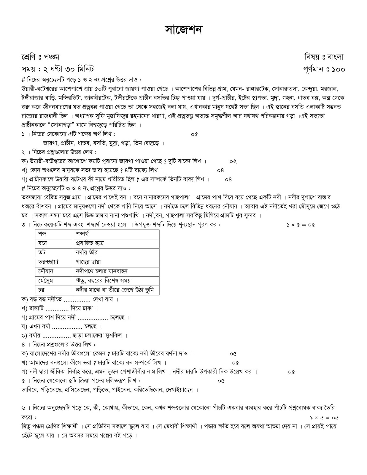 PSC Exam Suggestion Question Paper With Model Question Download