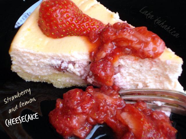 Strawberry and lemon cheesecake by Laka kuharica: strawberries taste amazing with this rich, creamy cheesecake.