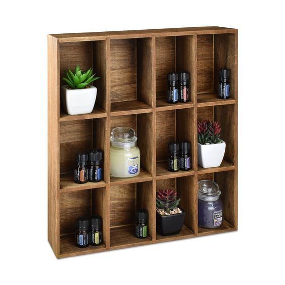 #HOM412BR Wall Mounted Wooden Mountable 12 Compartments Holder Shelf