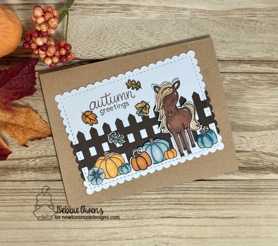 Autumn Greetings by Debbie features Neigh, Fence, Signs of Fall
