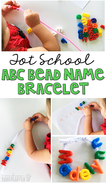 Alphabet name bracelets are fun for letter identification and fine motor practice with a Chicka Chicka Boom Boom theme. Great for tot school, preschool, or even kindergarten!