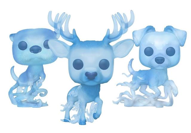 Bonecos Funko Pop! dos patronos de Hermione Granger (lontra), Harry Potter (cervo) e Rony Weasley (cão terrier) | Ordem da Fênix Brasileira