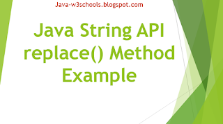 Java String API replace() Method Example