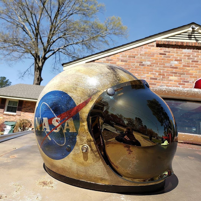 Born Again Choppers' customised NASA Gemini Biltwell Gringo bubblevisor motorcycle helmet by Igor's Custom