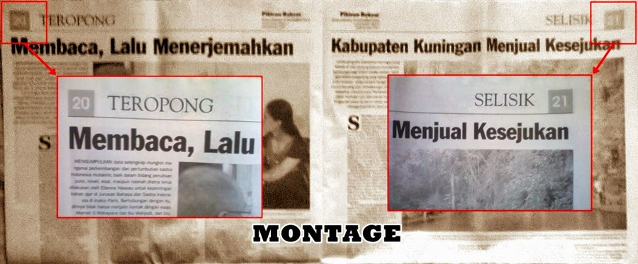 Paginasi Surat Kabar dan Majalah, reka bentuk surat kabar, jurnal rozak, montage