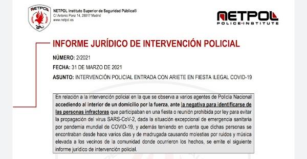 Descarga el informe jurídico de NETPOL sobre la intervención de la policía en la entrada a un domicilio por fiesta ilegal