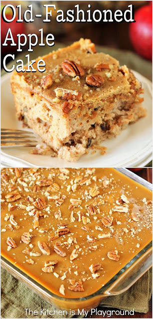 Old-Fashioned Apple Cake ~ Loaded with fresh apples, iced with boiled caramel topping, and studded with crunchy pecans, Old-Fashioned Apple Cake is one stunningly delicious apple dessert.  www.thekitchenismyplayground.com