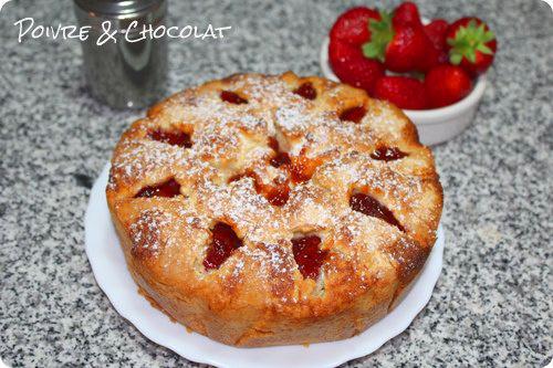 Gâteau aux fraises et au citron qui a un sucès fou fou fou
