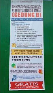Lowongan Pekerjaan PT. Greentex Indonesia Utama II