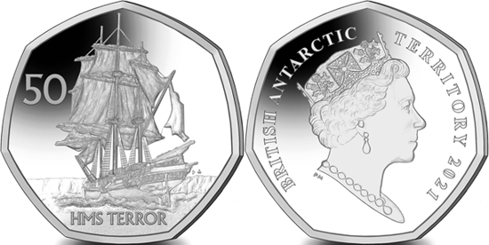 British Antarctic Territory 50 pence 2020 - HMS Terror