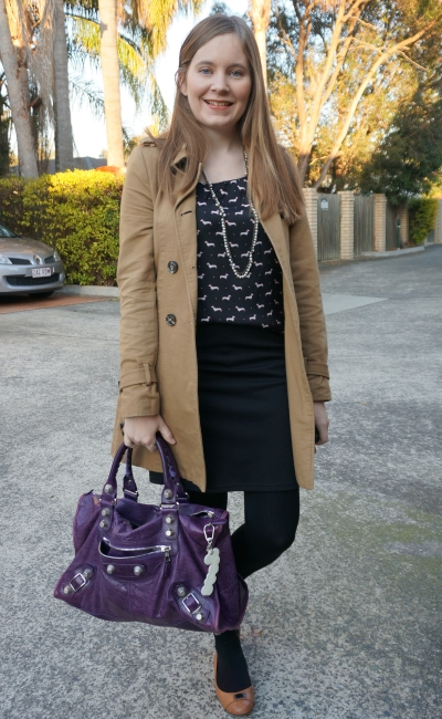 trench coat, printed blouse black pencil skirt purple balenciaga work bag | Away From Blue