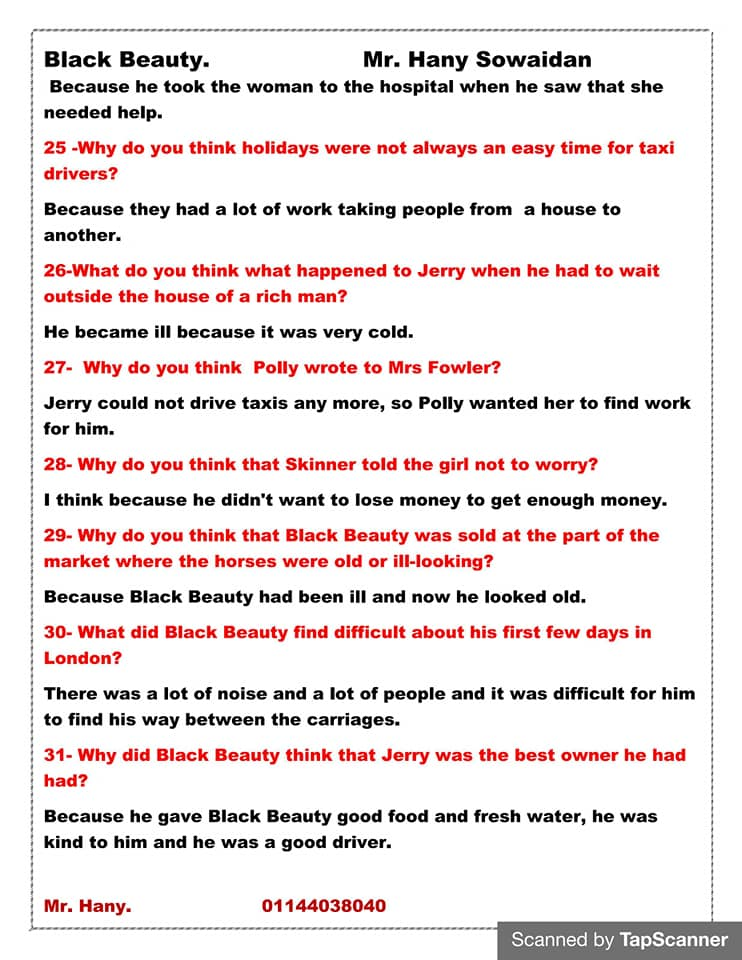 مراجعه أسئلة قصه اللغه الانجليزيه للصف الثالث الاعدادي ترم ثاني  مستر/ هاني سويدان 4