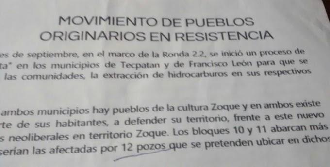 Afectará al pueblo zoque de Chiapas, extracción de hidrocarburos