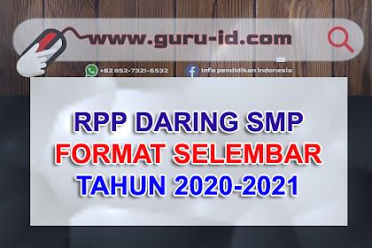 Download Contoh RPP daring 1 lembar kelas 7 8 9 Semester Ganjil dan genap terkini