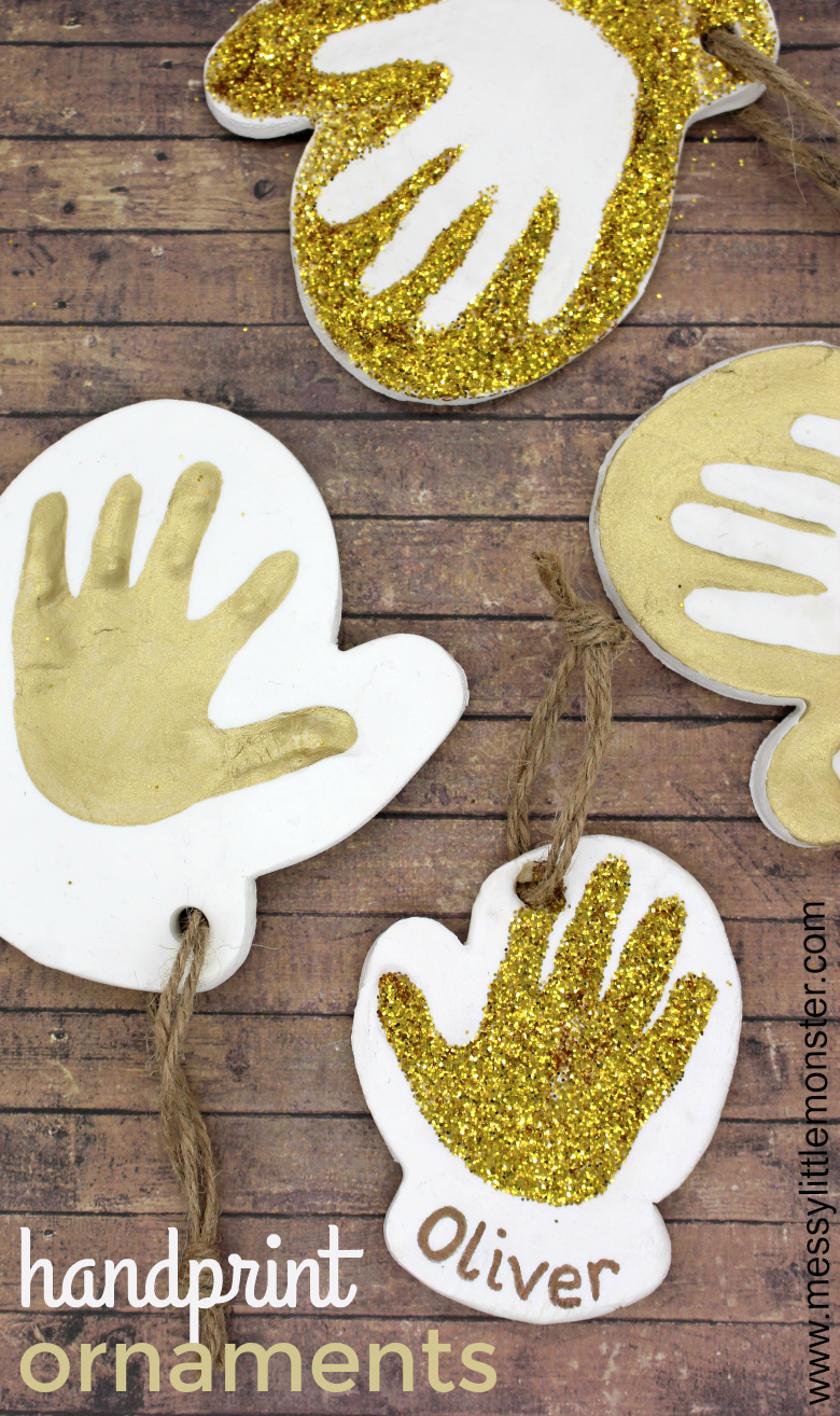 This adorable baby handprint ornament is made using our easy homemade clay recipe and it makes the BEST baby keepsake! Just follow our step by step instructions to make some handprint ornaments of your own.