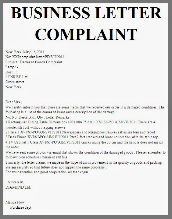 Complaint Letter Sample Of A Product | Cover Letter And Resume ...