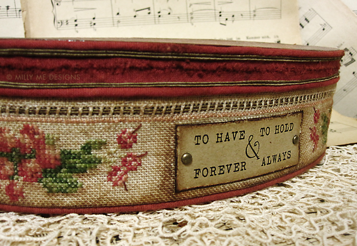 vintage box, cross stitch embroidery