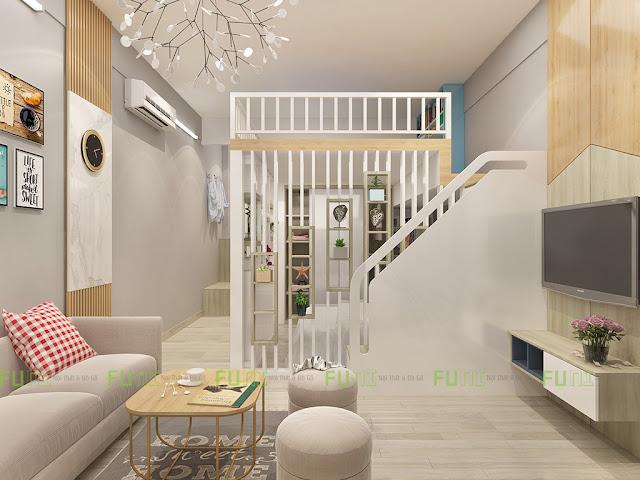 Thiết kế và thi công căn hộ chung cư ~30m2 có gác lửng - Phòng khách