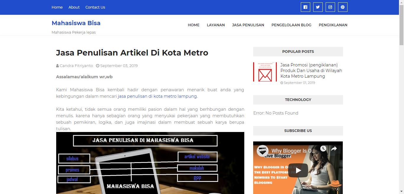 Jasa penulisan artiel di Kota Metro Lampung (MAHASISWA BISA)