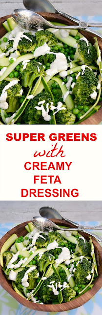 Healthy, no-guilt, Super Greens salad packed with vitamins and so delicious (only a few minutes to throw together) and the ultra creamy Feta Dressing is to die for !