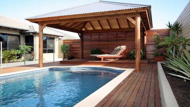 Gazebo kolam renang minimalis
