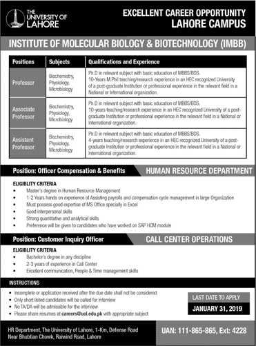 Jobs Vacancies In The University Of Lahore 20 January 2019