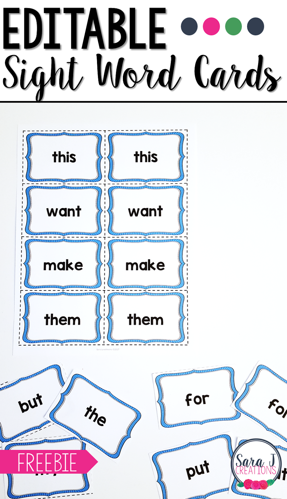 Editable sight word cards