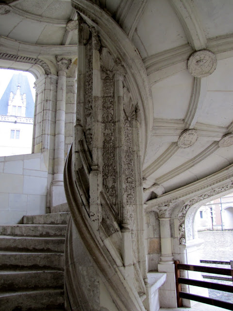 Internal view of the spiral staircase at chateau de Blois in the Loire Valley