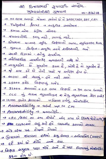 SHUBHARANBH KARYKRAM MA CM SAHEB AND SIKSHAN.MANTRI SIR NA VAKTVYO NI.NOTES