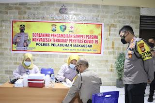 Puluhan Personil Polres Pelabuhan Makassar Screaning Sampel Plasma Konvalesen