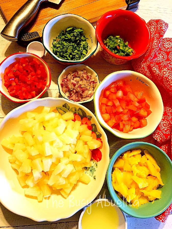 Mango Pineapple Salsa Ingredients in bowls