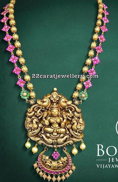 Ruby Floral Gold Balls Nakshi Haram