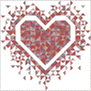 Exploding Heart quilt using pink and red fabrics from Dandelion Fabric & Co