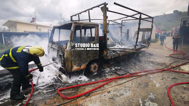 Πυρκαγιά στο Μάνεσι Αργολίδας - Καίγεται φορτηγό αυτοκίνητο και σπίτι