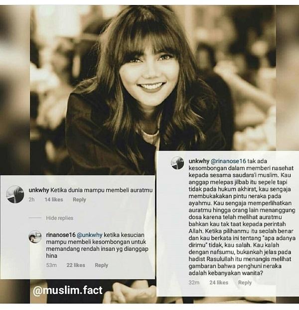 "Nasehat Seorang Muslimah untuk Rina Nose: ""Kau Sengaja Membukakan Pintu Neraka pada Ayahmu..."""