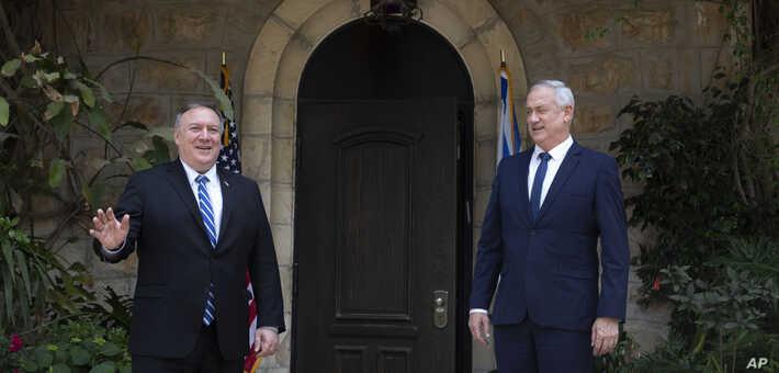 El secretario de Estado de EE.UU., Mike Pompeo, (izquierda) se reúne con Benny Gantz, líder del Partido israelí Azul y Blanco en Jerusalén, el 13 de mayo de 2020 / AP