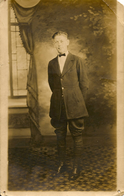 Mystery Photo Monday: Portrait of an unidentified young man. Photo Postcard. Possibly related to the Dixon family.