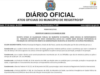 Prefeito Gilson Fantin decreta estado de calamidade pública em Registro-SP a partir do dia 23