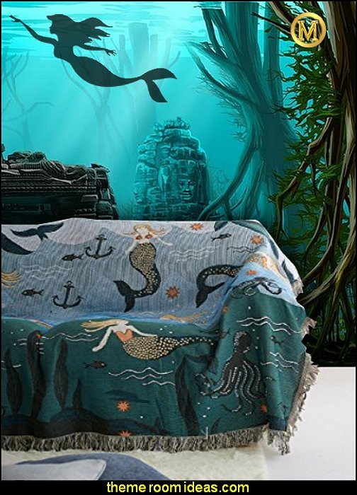 Mermaid Blanket underwater bedroom ideas - under the sea theme bedrooms - mermaid theme bedrooms - sea life bedrooms - Little mermaid princess Ariel - Sponge Bob theme bedrooms - mermaid bedding - Disney's little mermaid - clamshell bed - mermaid murals - mermaid wall decal stickers - Under The Sea Bedroom Under Sea Room Decorations Create An Under The Sea Themed Bedroom Filled With And Maids Little Maid Princess Sponge Bob And Under The Sea Room Ideas Bedroom Sea Salt Paint