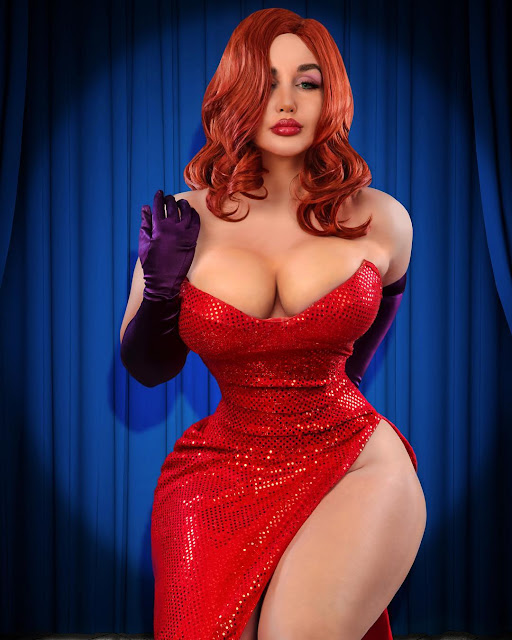 Cosplay Girls, tette grosse, capelli rossi, Jessica Rabbit