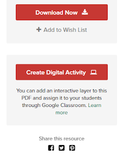 Red buttons on TPT to downloald & to create digital activity