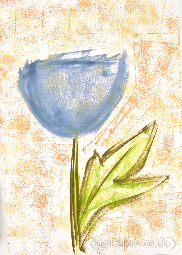 Large blue flower drawn with ink pads by Kim Dellow