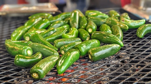 Chiles toreados just put on the grill