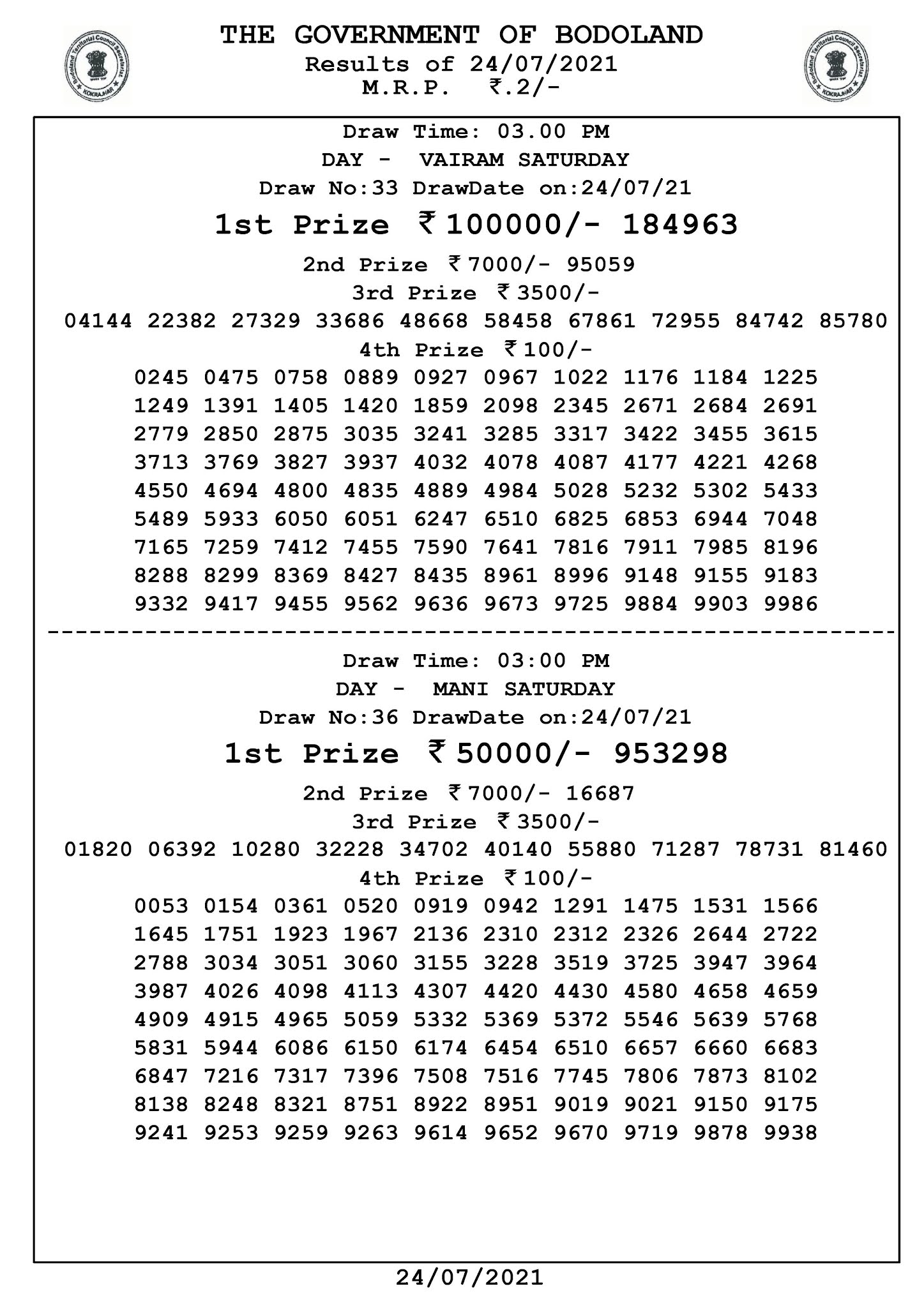 Bodoland Lottery Result Today