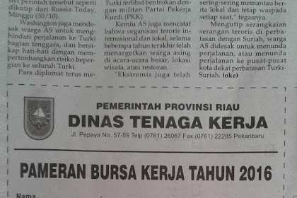 Formulir Bursa Kerja Dinas Tenaga Kerja Provinsi Riau