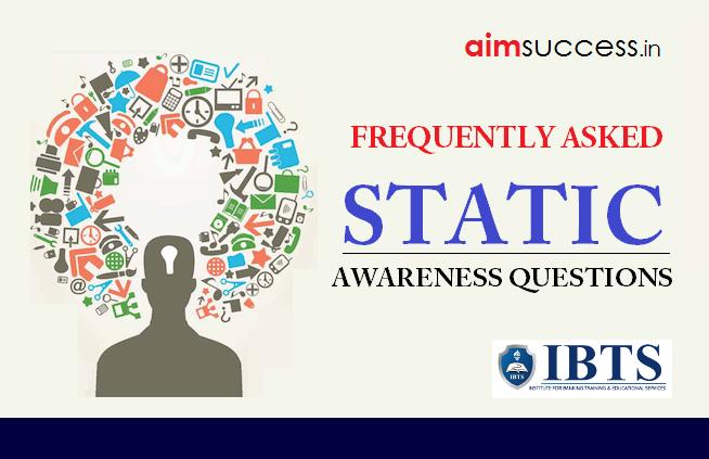 Static Awareness MCQs for RRB PO/Clerk Mains 2018: 27 Aug